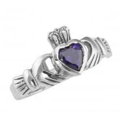 Irish Claddagh Ring w/ Amethyst CZ Gemstone - Sterling Silver