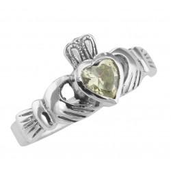 Irish Claddagh Ring Light Green Peridot CZ - Sterling Silver