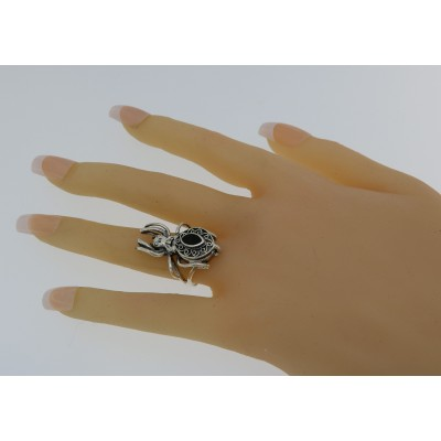 Black Onyx Spider Poison Ring Hidden Compartment - Sterling Silver
