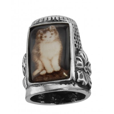 Cute Porcelain Cat / Kitty / Kitten Sewing Thimble - Sterling Silver