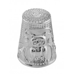 Classic Antique Style Owl Sewing Thimble in Fine Sterling Silver