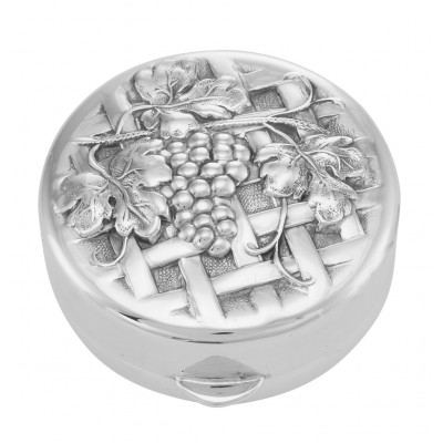 Sterling Silver Vine and Grapes on Trellis Design Pillbox - Made in USA
