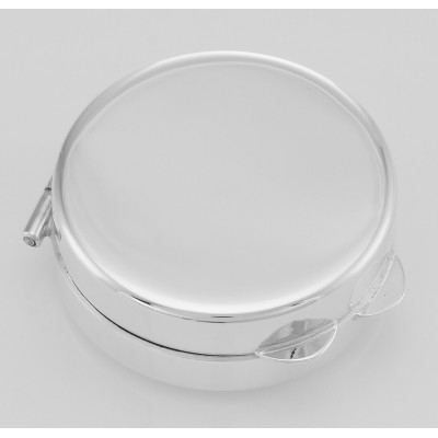 Beautiful Engravable Round Sterling Silver Pillbox - Made in USA
