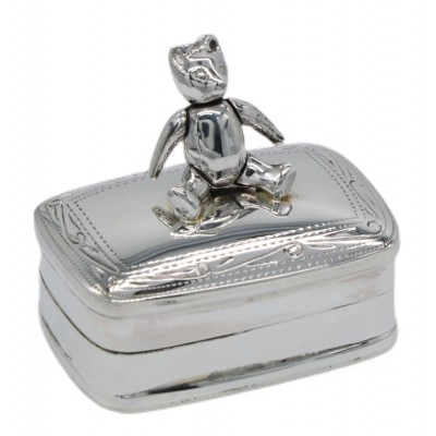 Cute Movable Teddy Bear Box for Baby in Fine Sterling Silver