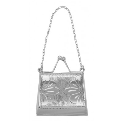 Antique Style Floral Daisy Purse Locket / Pill Box in Fine Sterling Silver