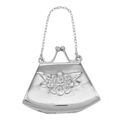 Antique Style Floral Purse Locket / Pill Box in Fine Sterling Silver