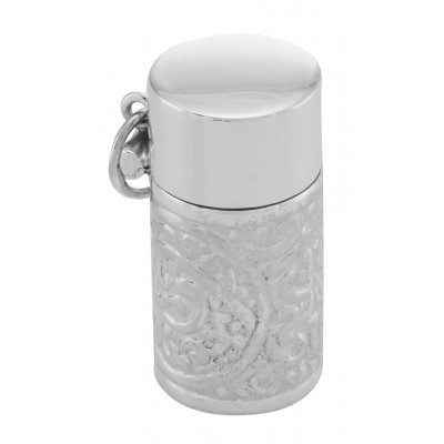 Antique Style Pill Box - Scroll Design Cylinder Pillbox in Fine Sterling Silver