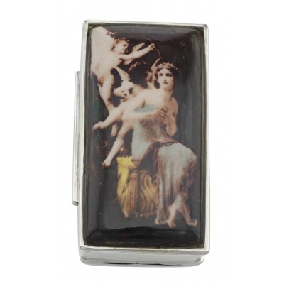 Antique Style Porcelain Top Angel Pill Box in Fine Sterling Silver