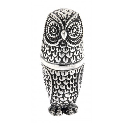 Antique / Vintage Style Highly Detailed Owl Pin Cushion in Fine Sterling Silver