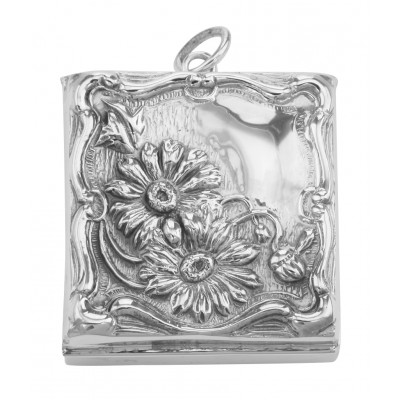 Beautiful Victorian Floral Design Stamp Box - Sterling Silver Pill Box