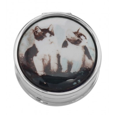Two Cats / Kittens Pillbox with Porcelain Top - Sterling Silver