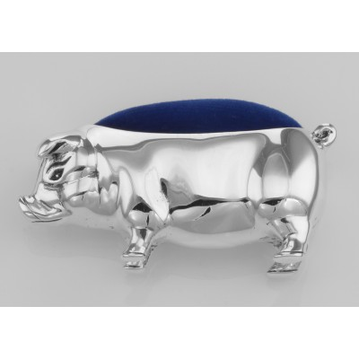 Antique Style Pig Pin Cushion in Fine Sterling Silver