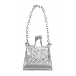 Small Etched Quilted Design Purse Locket / Pill Box in Fine Sterling Silver
