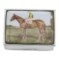 Jockey / Horse Sterling Silver Pillbox w/ Porcelain Top