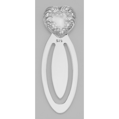 Beautiful Victorian Style Heart Shaped Sterling Silver Bookmark