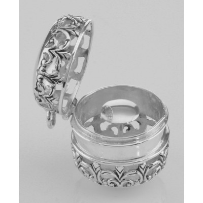Antique Style Filigree Thimble Case or Aromatherapy Pendant Sterling Silver