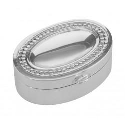 Small Oval Beaded Border Keepsake Sterling Silver Pillbox - Engravable