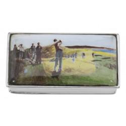 Porcelain Top Golf Pillbox - Sterling Silver Pill Box