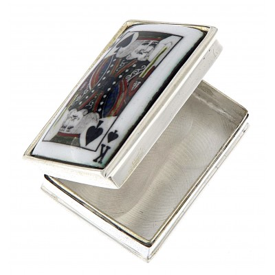 Hand Painted King of Spades Porcelain top Rectangular Sterling Silver Pillbox