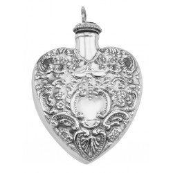Large Antique Style Heart Perfume Bottle Pendant - Sterling Silver