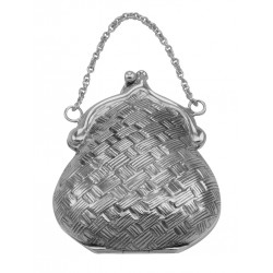 Antique Style Basketweave Purse Pill Box in Fine Sterling Silver