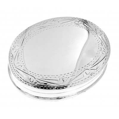 Nice Size Sterling Silver Oval Pillbox w/ Engraved Border Design