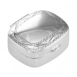 Small Sterling Silver Rectangle Pillbox w/ Engraved Border Design