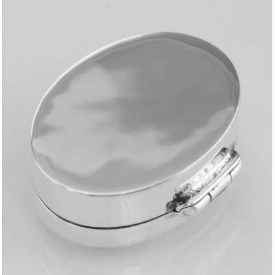 Small Sterling Silver Oval Pillbox w/ Engraved Border Design