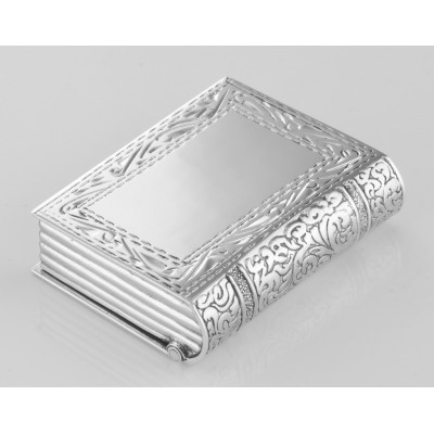 Antique Style Etched Border Design Sterling Silver Book Pillbox