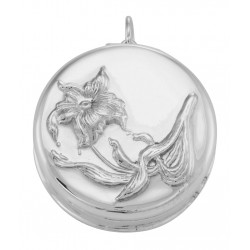 Art Nouveau Style Lily Pillbox / Pendant in Fine Sterling Silver