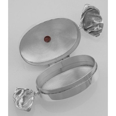 Antique Style Red Garnet Candy Pillbox in Fine Sterling Silver