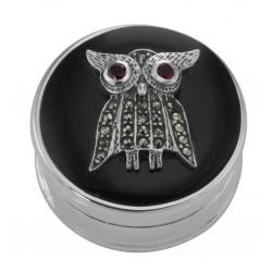 Beautiful Marcasite Owl Pillbox Black Onyx Top Garnet Eyes - Sterling Silver