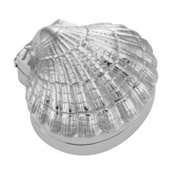 Antique Style Scallop Sea Shell Pillbox - Clamshell Box - Sterling Silver