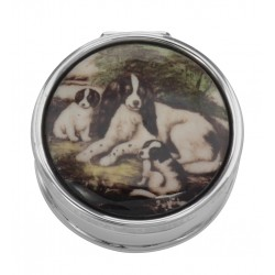 Classic Porcelain Top Pillbox with 3 Dogs - Sterling Silver